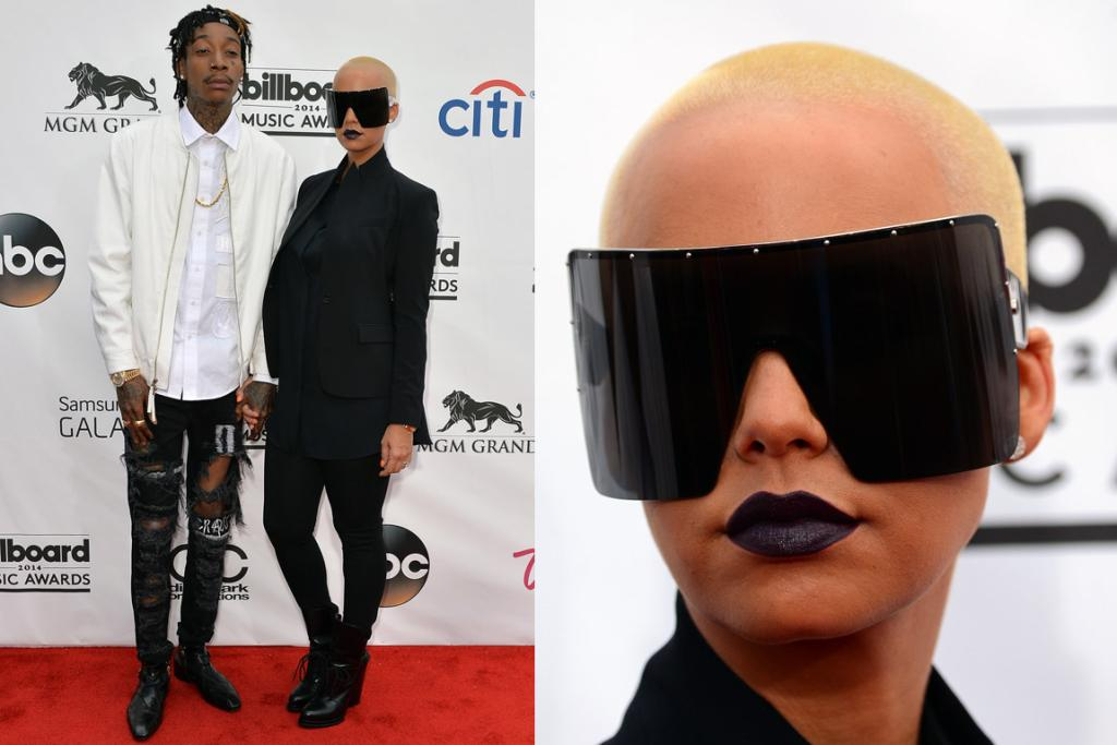 THE WOW: Wiz Khalifa's really elevating the art of denim fraying here, while his lady love Amber Rose is taking sunglasses at night to the next level.