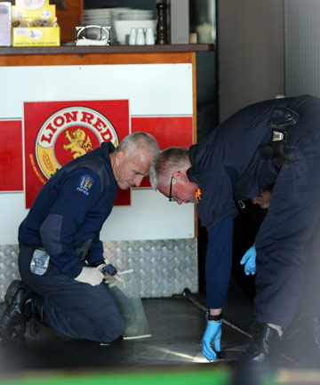 Waikato Police investigate the scene of an armed robbery.