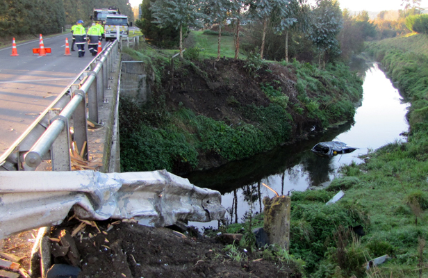 FATAL END: A car partially submerged in a stream near Havelock North.