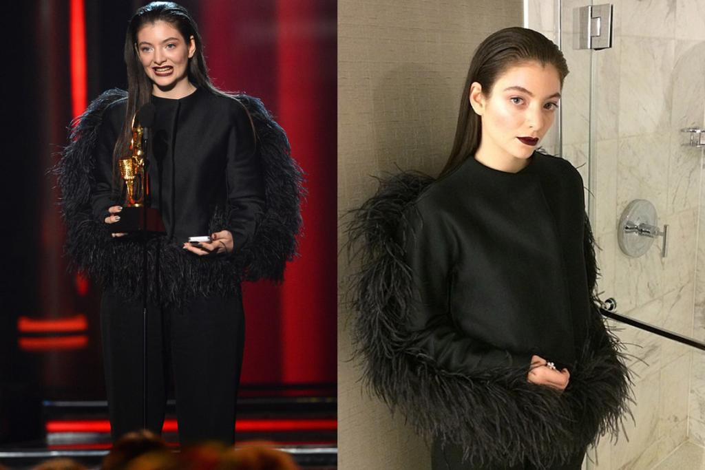 THE ANIMAL-LIKE: Oh Lordey Lorde. I dig that Lorde never walks the red carpet, and I love her fondness for dark lippie and how she's already got a clear personal style ... but looking at this outfit in the picture to the left all I can see is an ostrich ... a goth ostrich ... you know how all their plumage is out back and they've got lots of feather junk in their trunk? That's all I'm seeing. Also, are we looking at pants here? God bless Lorde and her out there fashion.
