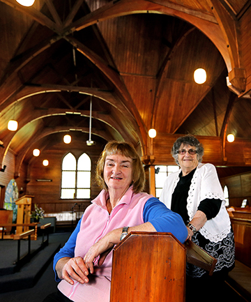 PARISH PROTECTORS: Josie Barras, left, and Jean Merrybarnett are organising an event to raise money to replace the roof at Fitzroy's Holy Trinity church.