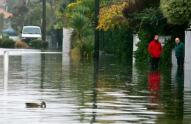 GREAT FOR DUCKS: Flooding in Thornton St, Mairehau, last year.