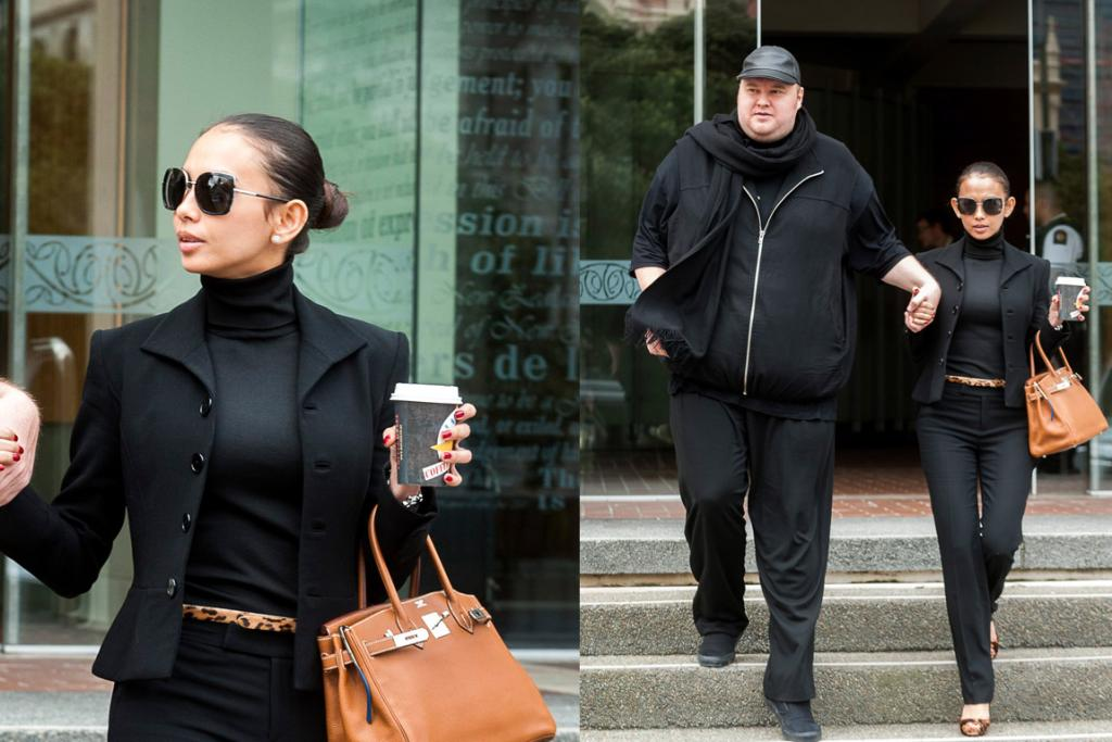 CHANNELLING VICTORIA BECKHAM AGAIN: Here Mona wields a Birkin by Hermes again with an on-trend polo neck and a chic pulled back bun. And while we would have chosen different shoes and gone for a slightly less boxy jacket, this is all-in-all a classic, timeless look. Kim, meanwhile, is staying true to form with his never-take-it-off scarf and a leather cap, all in black, of course.