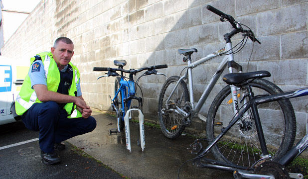 DISAPPOINTED: Sergeant John McCarthy, pictured, is disappointed Huntly College had 18 mountain bikes stolen last week. Most that have been tracked down have been painted to try and disguise them.