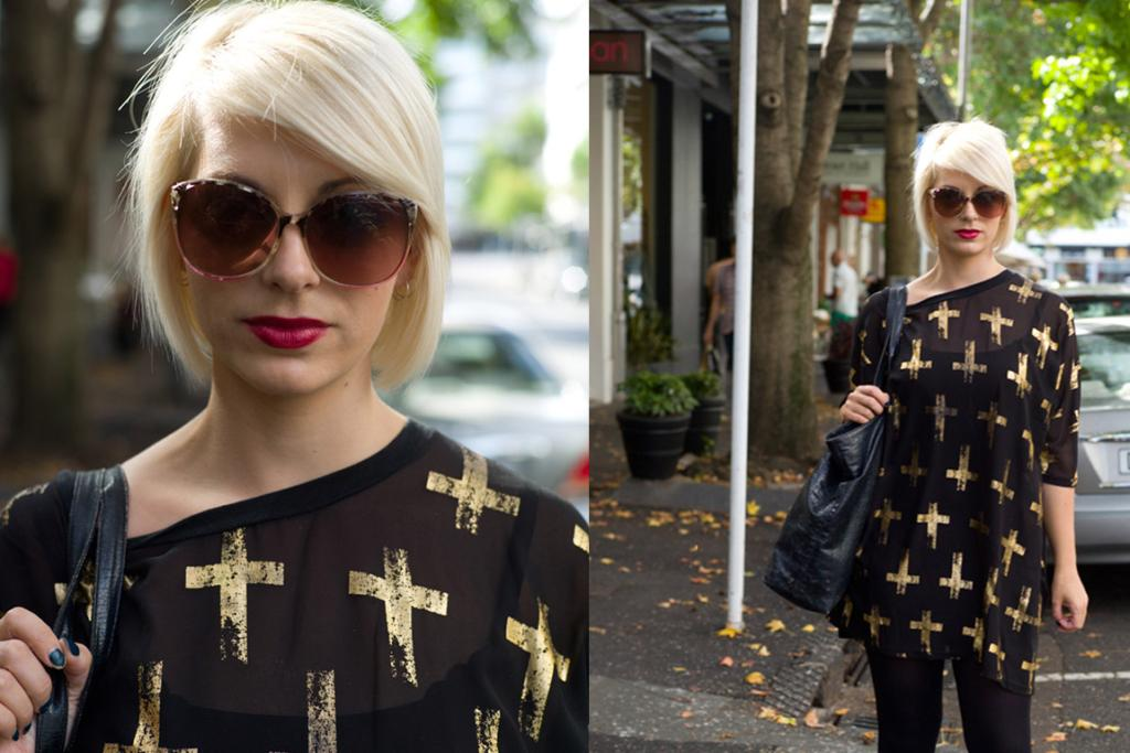 Katie, spotted on Nuffield Street, rocking a raspberry lip and cross-printed top.