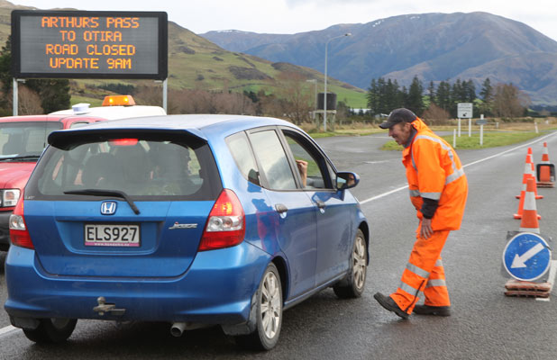 Road closure at Arthur's Pass