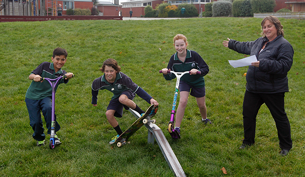 ROOM FOR DEVELOPMENT: Highfield School will soon be home to a skate park. Among those working on the project are, from left, Jian Hernawan, 11, Lewis Mansfield, 12, Sophie Lyons, 11, and team leader Robyn Cooper.