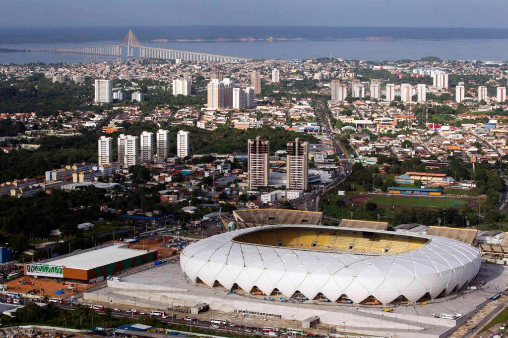 The Arena Amazonia soccer stadium is seen in this aerial view taken two days before its scheduled inauguration, in Manaus.