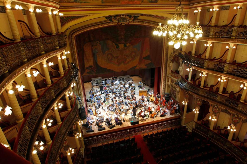 An orchestra practises at the Amazonas Theatre.