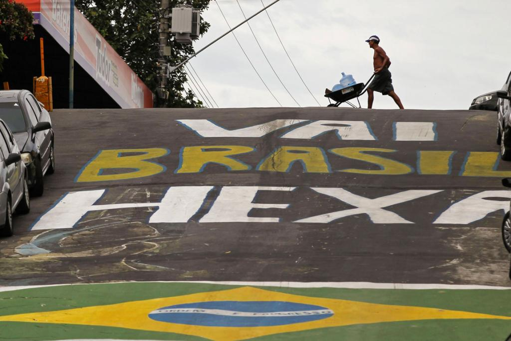 Jonathas Pedrosa street in Manaus is decorated for the 2014 World Cup.