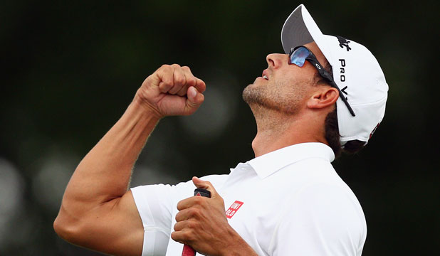 WORLD NO 1: Adam Scott celebrates winning the Crowne Plaza Invitational.
