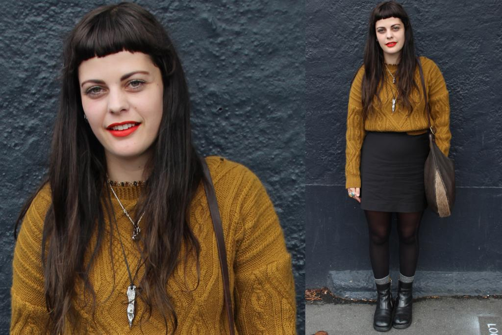 Spotted on Albany St in Dunedin, Julia wears a striking vintage jumper, Zambesi skirt and Dr Marten boots. We're digging her killer lip colour!