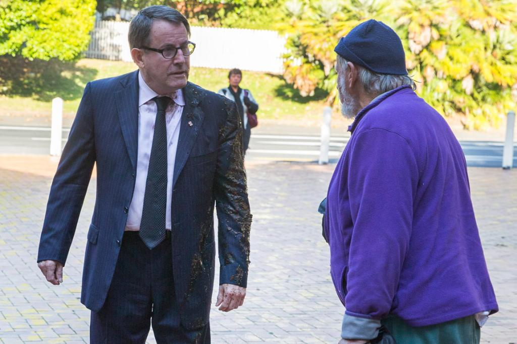 JOHN BANKS: Facing charges relating to whether he knew the source of donations to his 2010 bid for the Auckland mayoralty. On May 19 he had manure thrown over him on his way in to court.