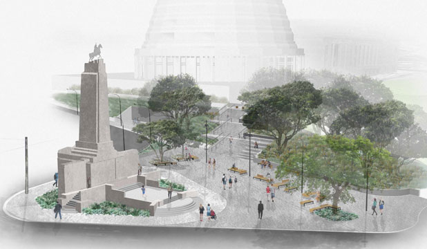 ANZAC REVAMP: An impression of what the area around the Cenotaph would look like after a $2.5 million revamp, including building stairs linking to Parliament.