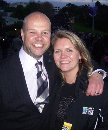 TOKYO TRAGEDY: Richard Newsome, 42, pictured with wife Rachael, died in Tokyo, where he was laying the groundwork for the 2019 Rugby World Cup.