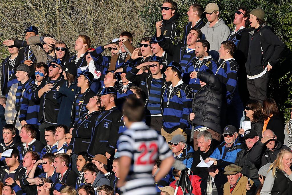 VICTORIOUS: Christchurch Boy's High School supporters cheer on their team.