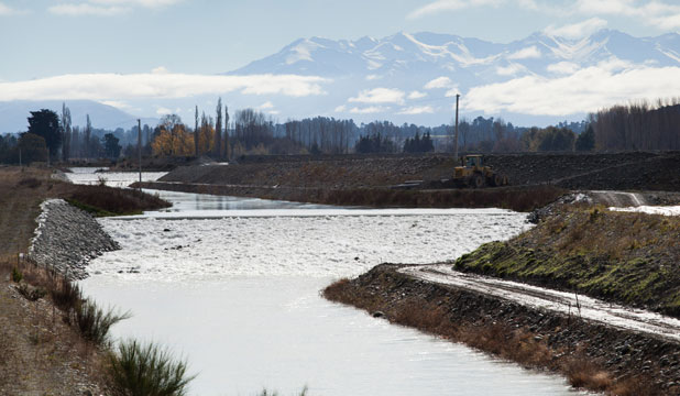 The ring race filling the Rangitata South Irrigation scheme is now handling 10 cumecs from the Rangitata River.