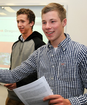 George Watt,  17, left,  and Jan Effenberger, 17, from Mt Aspiring College, Wanaka