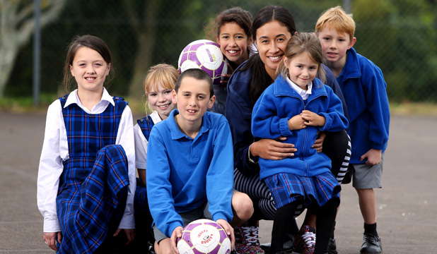 HOPPING IT UP: Silver Ferns and Northern Mystics netball player Maria Tutaia visited the New Plymouth Adventist Christian School yesterday.
