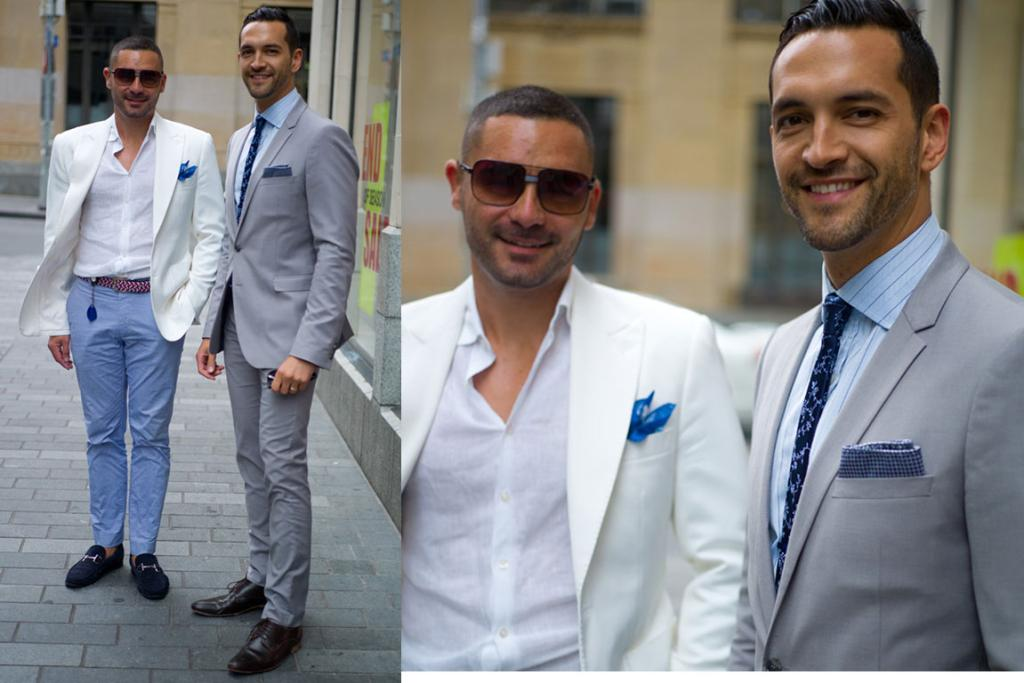 David and Nathan, spotted on Shortland St in Auckland, are suave personified in their slim cut pants, fitted jackets and jaunty pocket squares.