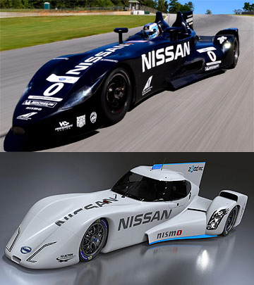 DELTAWINGS: The first DeltaWing to turn a wheel in anger (top) raced with Nissan power in 2012 while Nissan has since designed a new racecar that is similar to the DeltaWing (bottom).