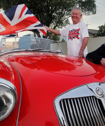 Grant Stewart and the owner of the red 1956 MGA, Neil Manchester