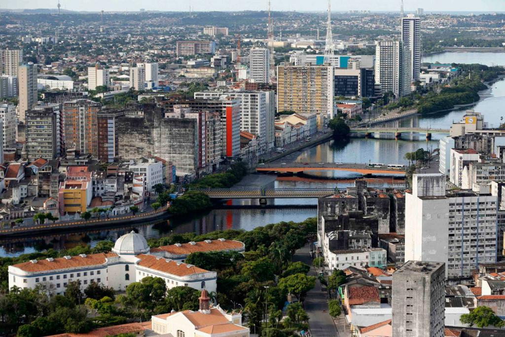 An aerial view of the city of Recife.