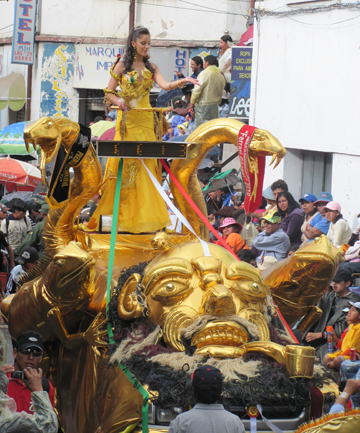 BOLIVIAN ADVENTURE: A beautiful woman beckoned the writer from atop a giant dragon.