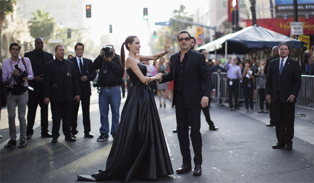 STAR PARTNERS: Brad Pitt with Angelina Jolie at the Hollywood premiere of Maleficent.