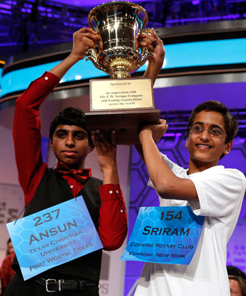Joint winners Ansun Sujoe, left, of Fort Worth, Texas and Sriram Hathwar of Painted Post, New York