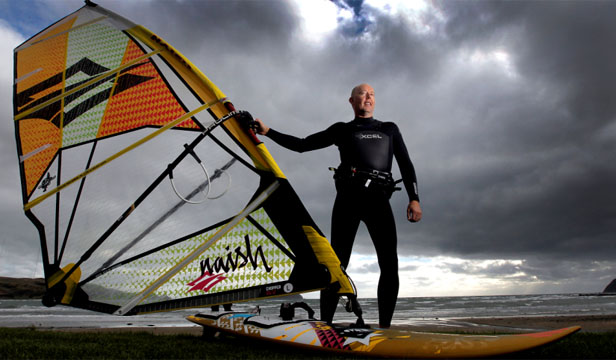 WHEN BAD IS GOOD: As a keen windsurfer, Chris Brown looks forward to Wellington's worst weather days - but he doesn't get all that many.
