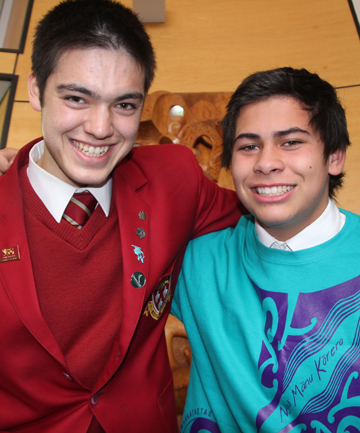 TOP DESIGNERS: Edward Popham, 17, left, and Storm Cameron, 15, wear the winning T-Shirt design for the Otago-Southland secondary schools' Manu Korero speech competition, to be held next Friday at the Civic Theatre.
