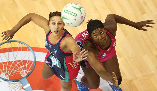 TESTING METTLE: The Southern Steel's Jhaniele Fowler-Reid and the Melbourne Vixens' Geva Mentor square off during their trans-Tasman netball game at Invercargill's Stadium Southland.