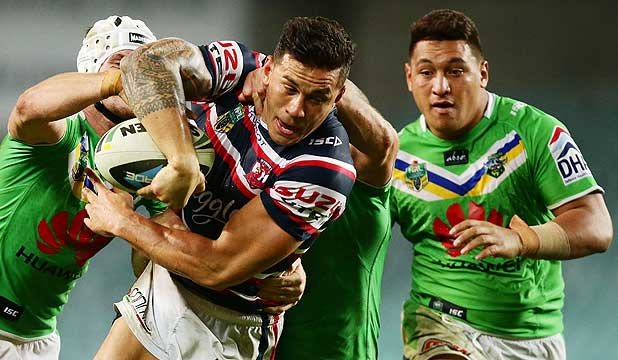 CROW ABOUT: Sonny Bill Williams tries to get past the Canberra defence.