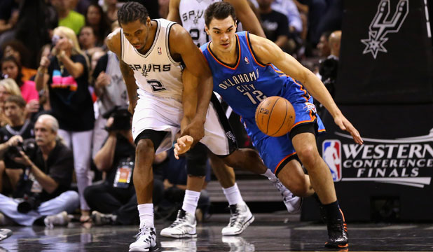 BIG BATTLE: Steven Adams played 20 minutes, scored six points and landed four rebounds for the Thunder in game five of the NBA Western Conference finals against the Spurs.