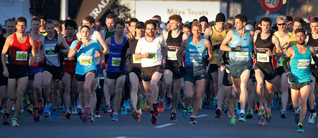 Sunshine is a bonus at the start of the Christchurch airport marathon.