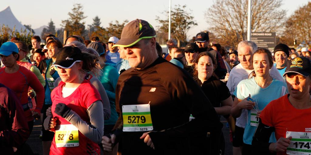 Taking on an early morning challenge at the Christchurch Marathon.