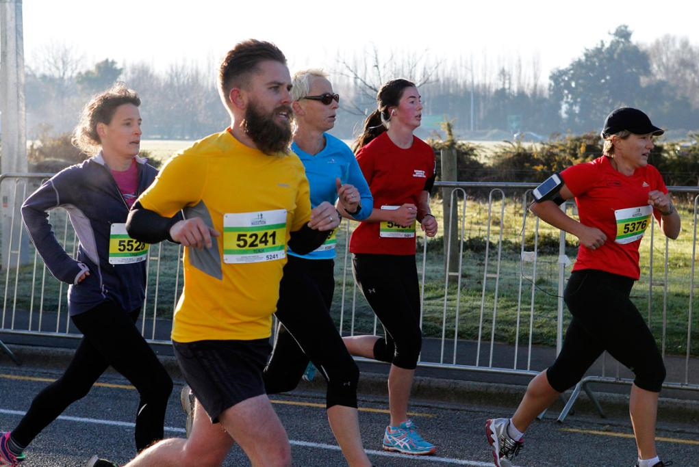Approaching the finish line after the 10k run in the Christchurch airport marathon.