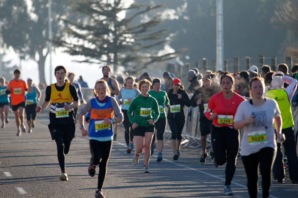 A chill in the air but a pop in the step towards the finish line this morning for the Christchurch airport marathon competitors.