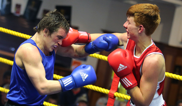 FRONT FOOT: Timaru's Alan Ropata on the attack against Rhys Guscott, of Oamaru, in the Elite Male Novice 75kg section of the South Island Golden Gloves.