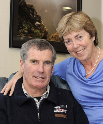 "RELUCTANT KNIGHT FLIER: Te Anau helicopter pilot Richard ""Hannibal"" Hayes and his wife, Carol."
