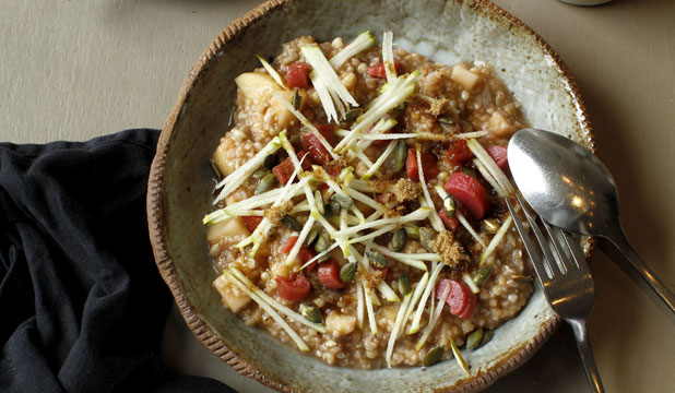 WARMTH FROM THE INSIDE: Five-grain porridge topped with apple shards and rhubarb.