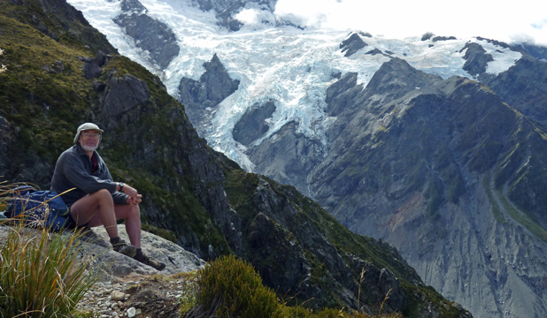 MOUNTAIN MAN: Gilbert Hayes tramping in the Mt Cook Region in 2011.