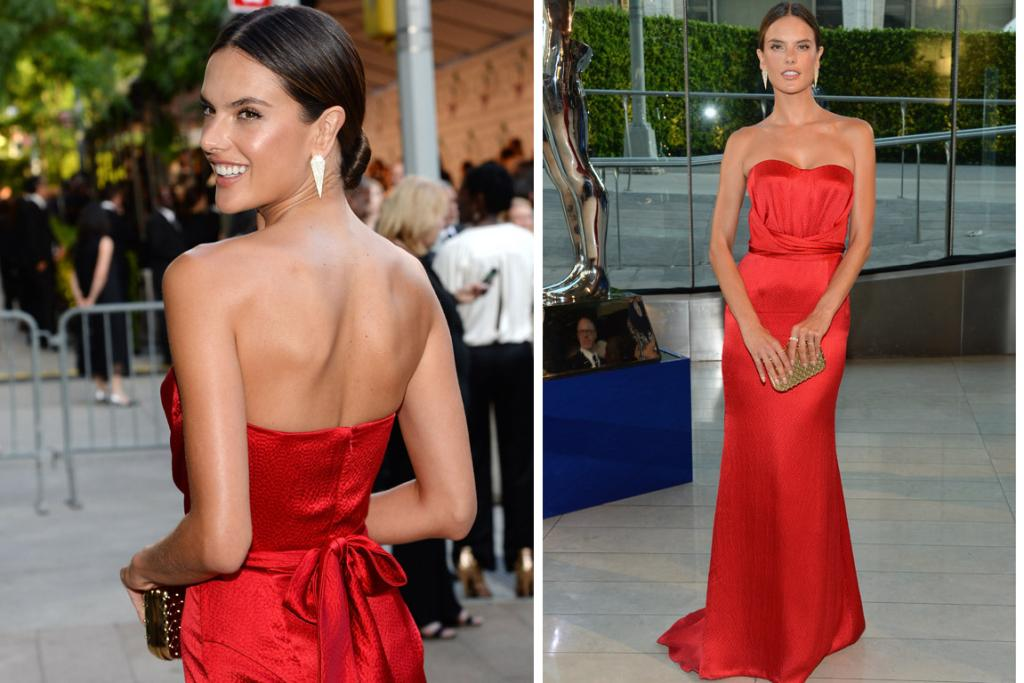 THE GREAT: Alessandra Ambrosio looks A-grade stunning in this Noonoo gown. The crossover of material along the bodice gives the dress structure, and the red works beautifully with her chestnut hair.