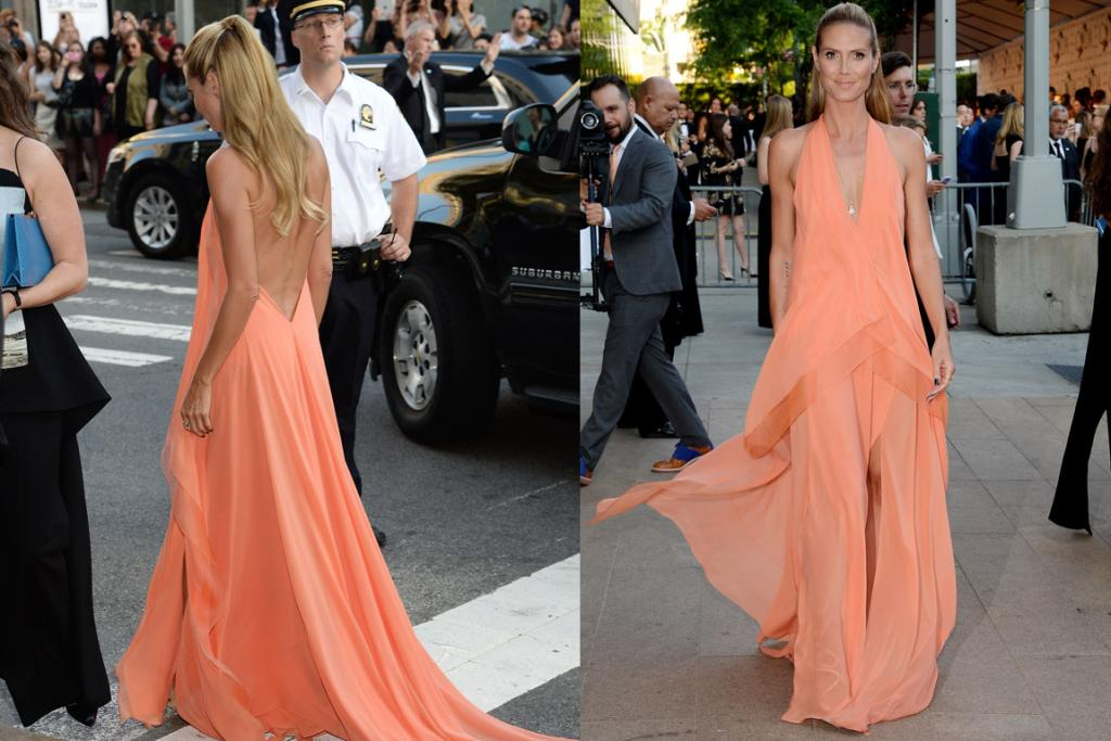 THE GOOD: Heidi Klum always looks at her best when she doesn't try too hard, and this peach Donna Karan dress is somehow effortless and yet still very elegant. I love it.