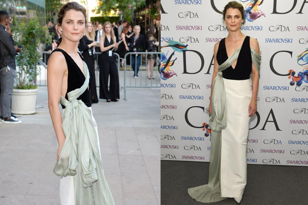 THE BAD: I thinks this Rosie Assoulin dress could work on Keri Russell if they'd just dialled back the volume of that green sash around her hip area. It's almost like she's carted a newborn to the event in some earth-mother, attachment parenting sling, and passed off the baby just before posing, just letting that sling drop.
