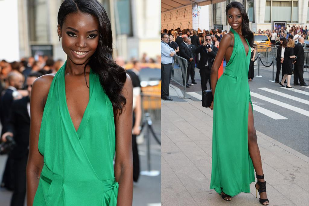 THE GOOD: VS model Maria Borges manages to somehow pull off concurrent thigh split and low-cut top in this DVF. I think the gorgeous green of this dress helps. Oh, and the fact she's a stunning model.