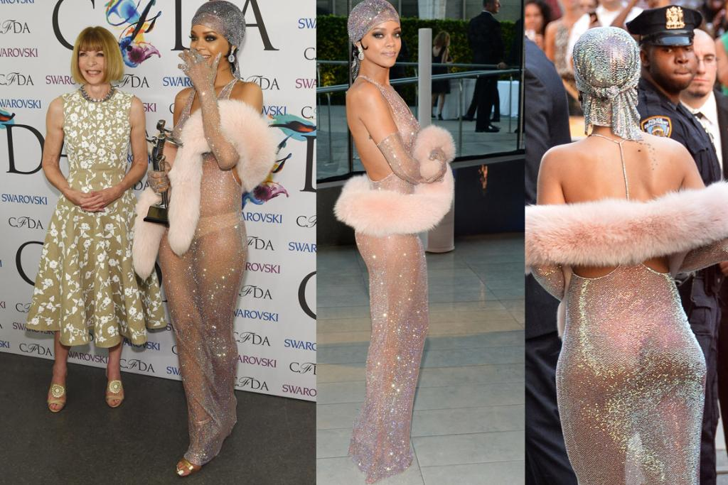 THE WOW: Okay, so I had to search far and wide for appropriate photos of this dress, because it's entirely see through and Rihanna is basically naked underneath. Shimmery and nude, like something from an early 2000 Britney or J-Lo music video. This Adam Selman fishnet dress was made with over 200,000 Swarovski crystals, aka it must be crazy expensive, and it must have given someone serious RSI. I'm loving the face of the cop in the picture on the right. I dig the Josephine Baker vibe, but do wish this was slightly less sheer (trust me, there are worse photos). Bum and boobs all in one outfit is quite something. Also, granny-pant coloured knickers? If you're going to show it all off choose some nicer undies.