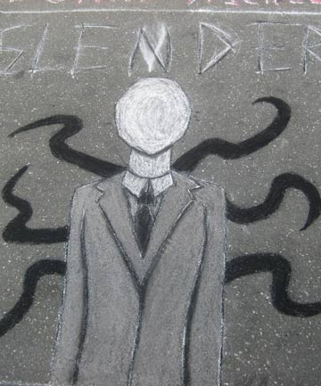 MEME: Slenderman sidewalk graffiti in North Carolina.