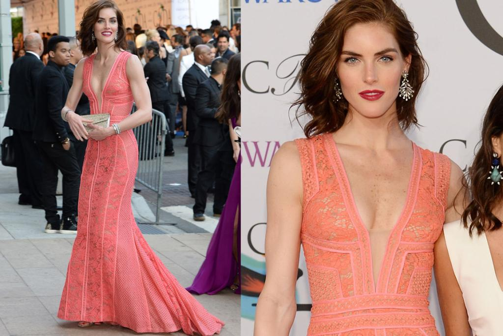 THE GREAT: Hilary Rhoda manages to make a peach-pink, all-lace dress work with a red lip. That is some pro work right there. She's wearing J Mendel. Those brows. Wows.